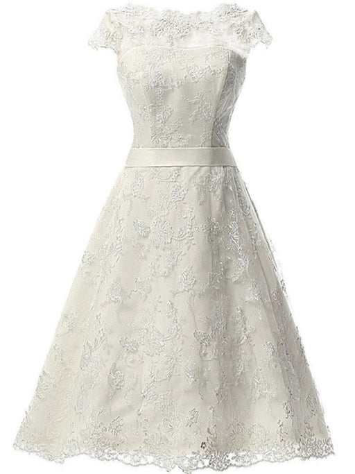 Glamorous Cap Sleeves Covered Button Ribbon Wedding Dresses - Ivory / Short Length - wedding dresses
