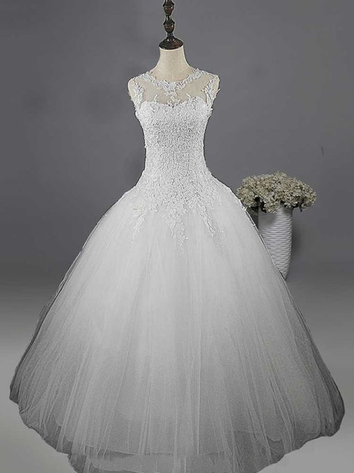 Glamorous Lace Ball Gown Tulle Wedding Dresses - Pure White / Floor Length - wedding dresses