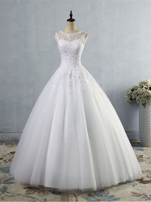 Glamorous Tulle Lace Ball Gown Wedding Dresses - Pure White / Floor Length - wedding dresses