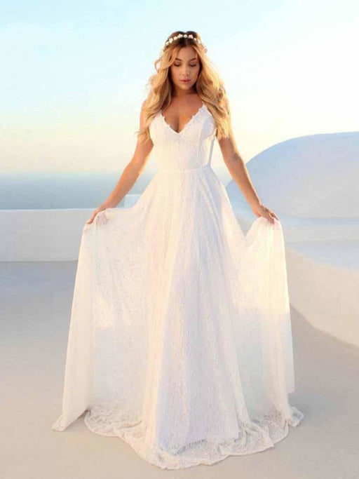 Glamorous V-Neck Backless Lace A-Line Wedding Dresses - Ivory / Floor Length - wedding dresses