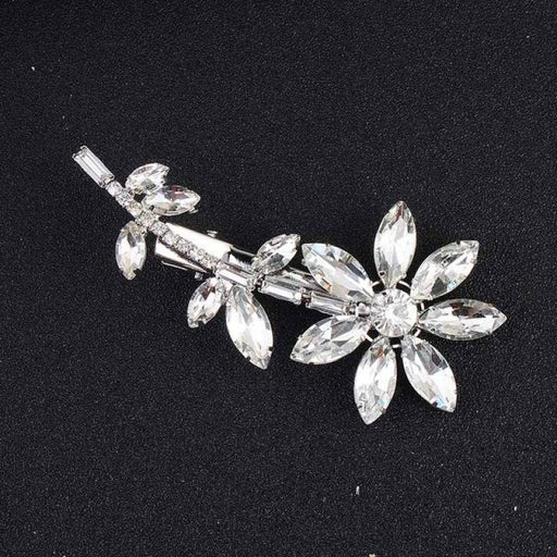 Glass Flower Rhinestones Combs & Barrettes | Bridelily - Silver - combs and barrettes