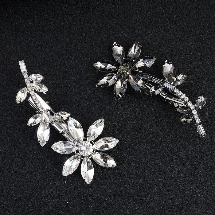 Glass Flower Rhinestones Combs & Barrettes | Bridelily - combs and barrettes