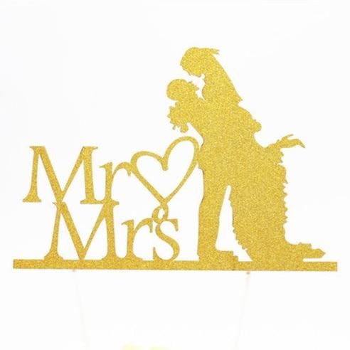 Glitter Bride Groom Mr Mrs Hollow Cake Topper | Bridelily - style 3 - cake toppers