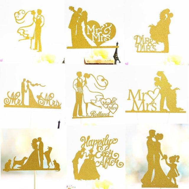Glitter Bride Groom Mr Mrs Hollow Cake Topper | Bridelily - style 31 - cake toppers