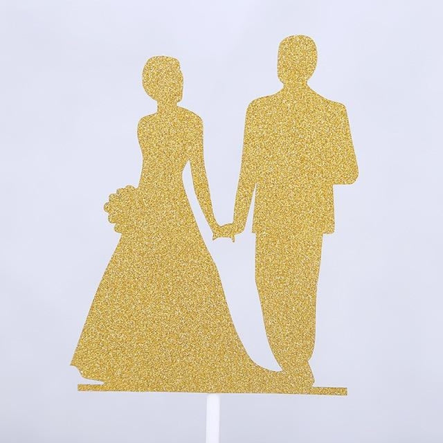 Glitter Bride Groom Mr Mrs Hollow Cake Topper | Bridelily - style 29 - cake toppers