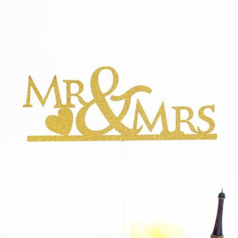 Glitter Bride Groom Mr Mrs Hollow Cake Topper | Bridelily - style 9 - cake toppers