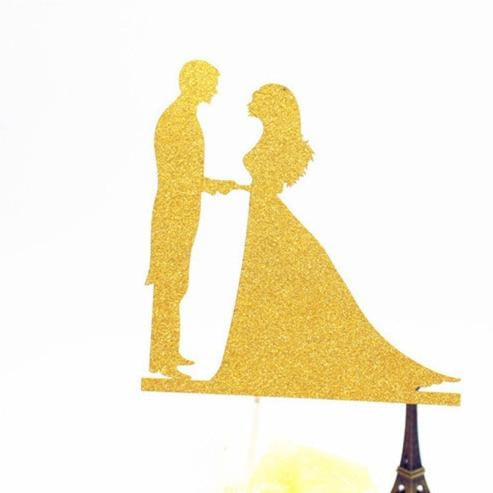 Glitter Bride Groom Mr Mrs Hollow Cake Topper | Bridelily - style 16 - cake toppers