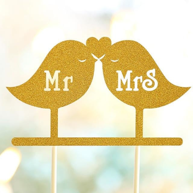 Glitter Bride Groom Mr Mrs Hollow Cake Topper | Bridelily - style 28 - cake toppers
