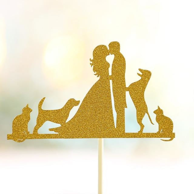 Glitter Bride Groom Mr Mrs Hollow Cake Topper | Bridelily - style 27 - cake toppers