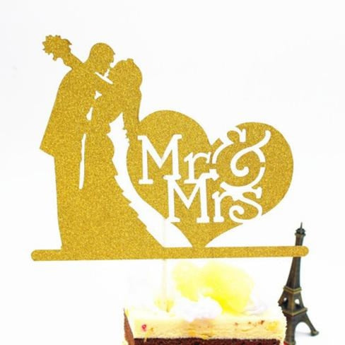 Glitter Bride Groom Mr Mrs Hollow Cake Topper | Bridelily - style 5 - cake toppers