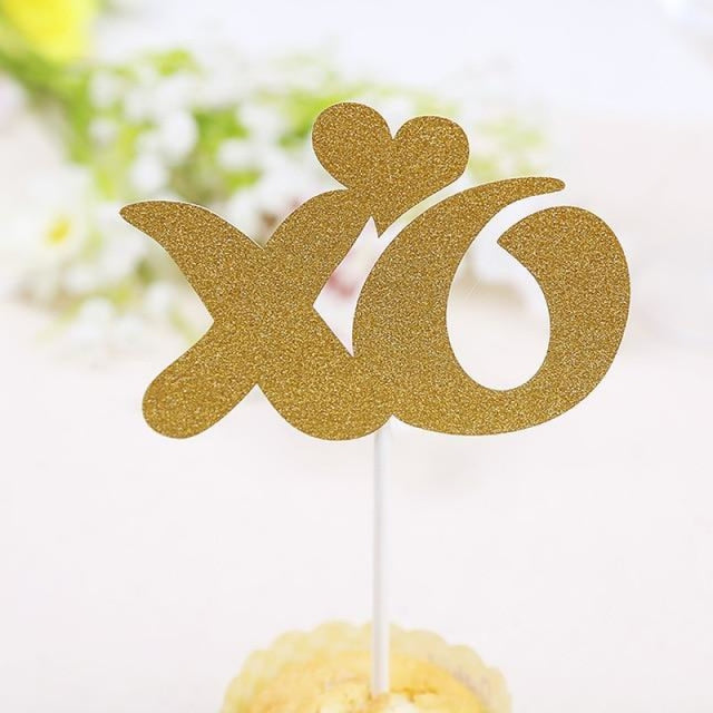 Glitter Bride Groom Mr Mrs Hollow Cake Topper | Bridelily - style 24 - cake toppers