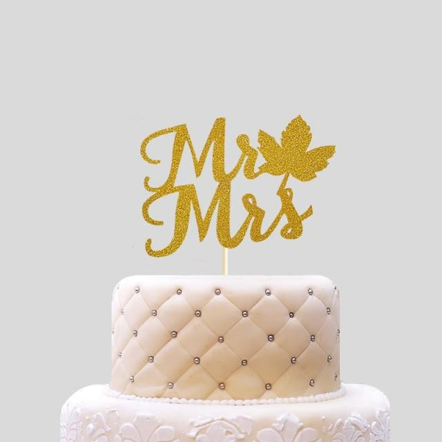 Glitter Bride Groom Mr Mrs Hollow Cake Topper | Bridelily - style 25 - cake toppers
