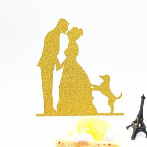 Glitter Bride Groom Mr Mrs Hollow Cake Topper | Bridelily - style 15 - cake toppers