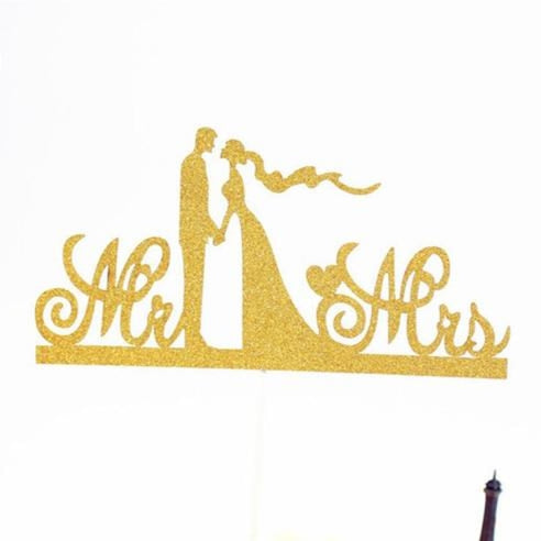 Glitter Bride Groom Mr Mrs Hollow Cake Topper | Bridelily - style 13 - cake toppers