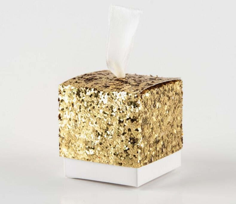 Glitter Festive Classic Shape Favor Holders | Bridelily - 50pcs gold - favor holders