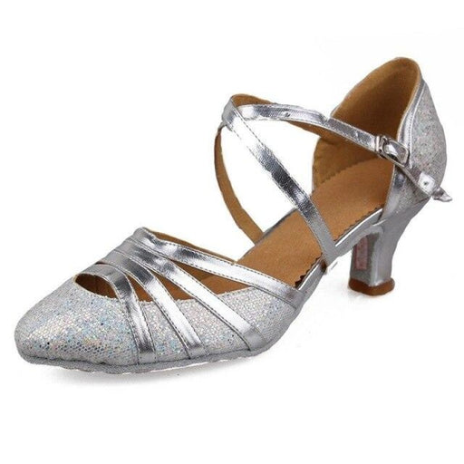 Glitter Heeled Salsa Sandal Ballroom Dance Shoes | Bridelily - 512 Silver / 3.5 - ballroom dance shoes