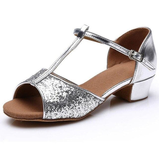 Glitter Lace-Up Square Heel Ballroom Dance Shoes | Bridelily - Silver 2 / 5 - ballroom dance shoes