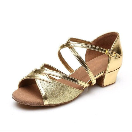 Glitter Lace-Up Square Heel Ballroom Dance Shoes | Bridelily - Gold / 5 - ballroom dance shoes