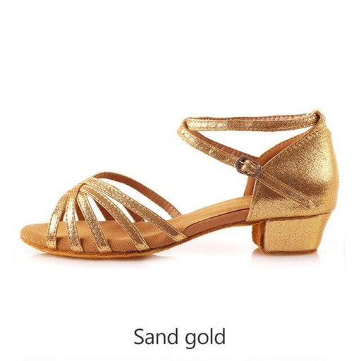 Glitter Lace-Up Square heel Latin Dance Shoes | Bridelily - sand gold 3cm heel / 11 - latin dance shoes