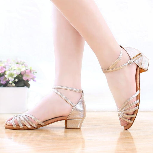 Glitter Lace-Up Square heel Latin Dance Shoes | Bridelily - latin dance shoes