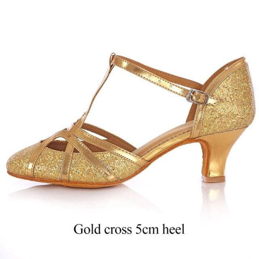 Glitter Lace Up Square Heel Latin Dance Shoes | Bridelily - Gold cross 5cm / 6 - latin dance shoes