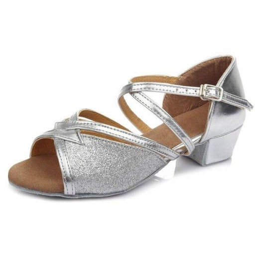 Glittered Heeled Lace Up Ballroom Dance Shoes | Bridelily - Silver / 12.5 - ballroom dance shoes