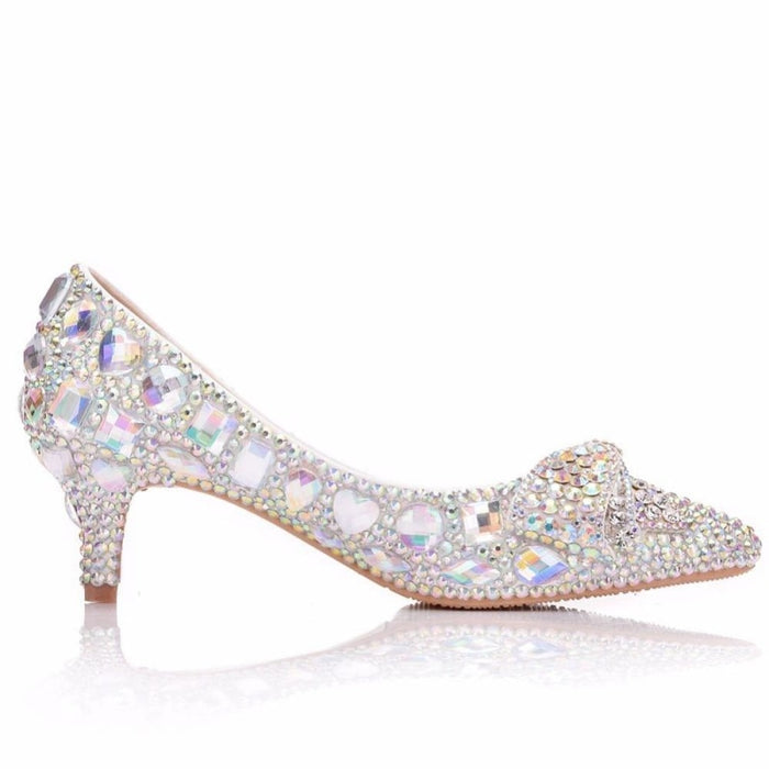 Glittering Rhinestone Bow Wedding Pumps | Bridelily - wedding pumps