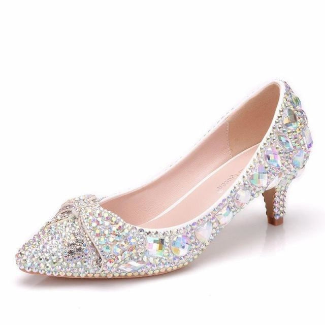 Glittering Rhinestone Bow Wedding Pumps | Bridelily - AB / 34 - wedding pumps