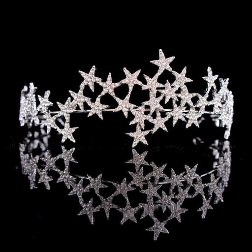 Glittering Star Hairbands Handmade Tiaras | Bridelily - Silver - tiaras