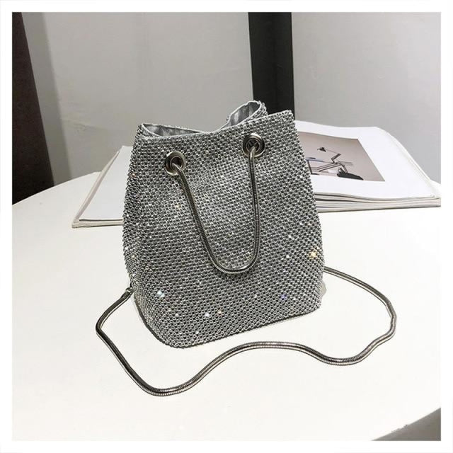 Glittering Totes Purse Chain Wedding Handbags | Bridelily - Silver - wedding handbags