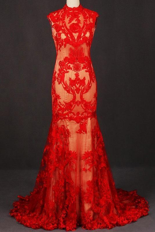 Glorious Excellent Red High Neck Sleeveless Evening Dress Lace Tulle Prom Dresses - Prom Dresses