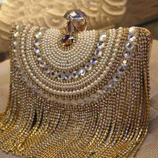 Gold Crystal Tassel Clutche Chain Wedding Handbags | Bridelily - wedding handbags