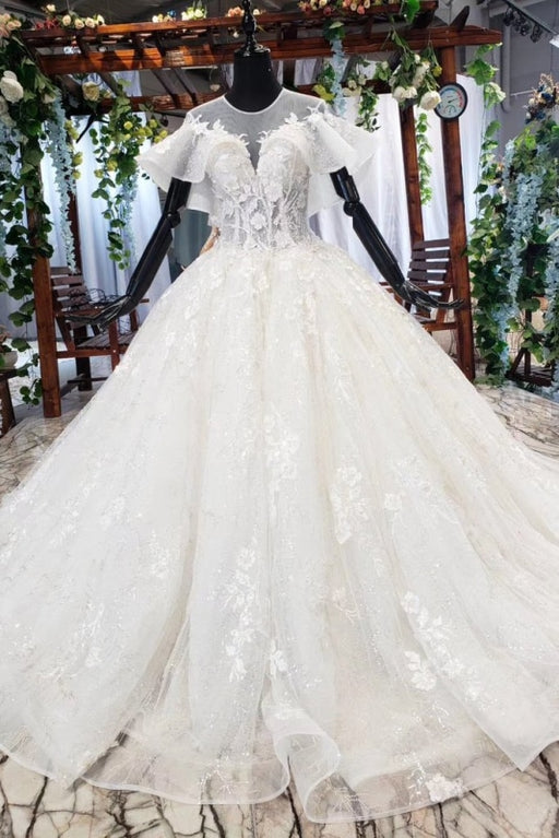 Gorgeous Ball Gown Big Princess Sleeves Wedding Dress - Wedding Dresses
