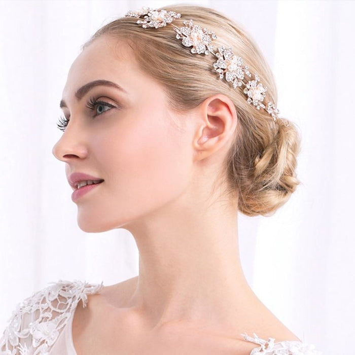 Gorgeous Flower Crystal Stone Headbands | Bridelily - headbands