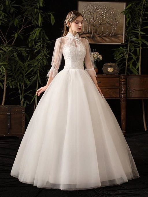 Gorgeous High Collar 3/4 Sleeve Lace-Up Ball Gown Wedding Dresses - White - wedding dresses