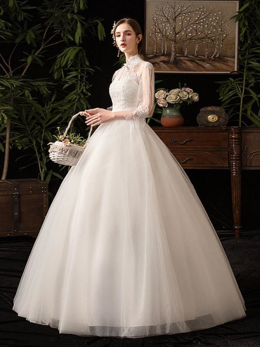 Gorgeous High Collar 3/4 Sleeve Lace-Up Ball Gown Wedding Dresses - wedding dresses