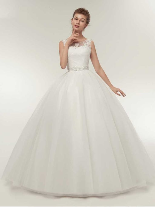 Gorgeous Lace Up Ball Gown Wedding Dresses - White / Floor Length - wedding dresses