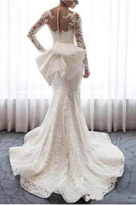 Gorgeous Lace with Long Sleeves Bowknot Mermaid Wedding Dress - Wedding Dresses