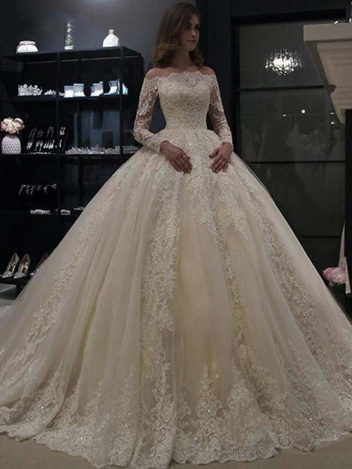 Gorgeous Long Sleeves Lace Ball Gown Wedding Dresses - Ivory / Floor Length - wedding dresses