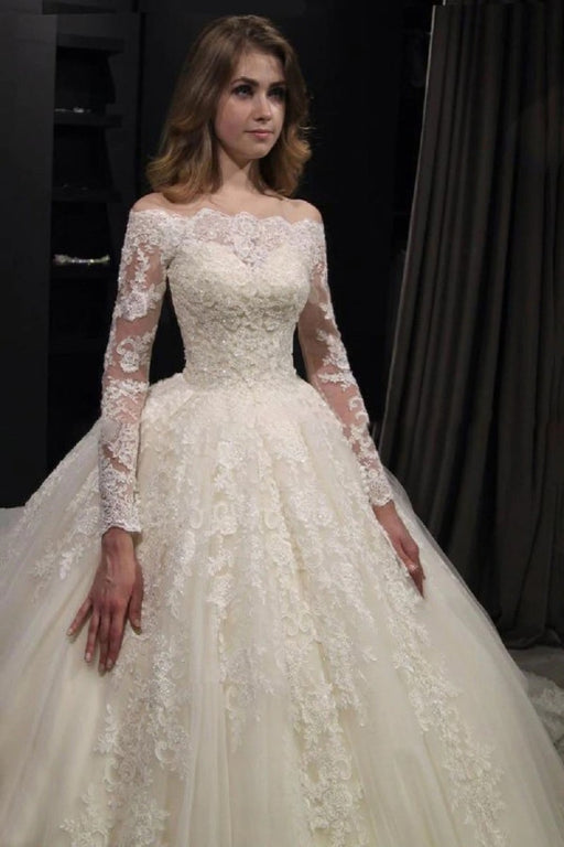 Gorgeous Long Sleeves Lace Ball Gown Wedding Dresses - wedding dresses