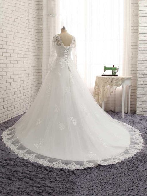 Gorgeous Long Sleeves Lace Ribbon Tulle Wedding Dresses - wedding dresses