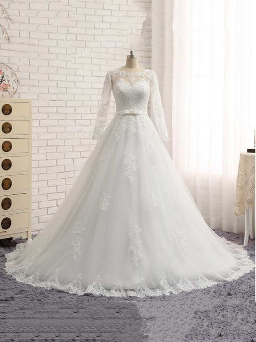 Gorgeous Long Sleeves Lace Ribbon Tulle Wedding Dresses - Ivory / Floor Length - wedding dresses