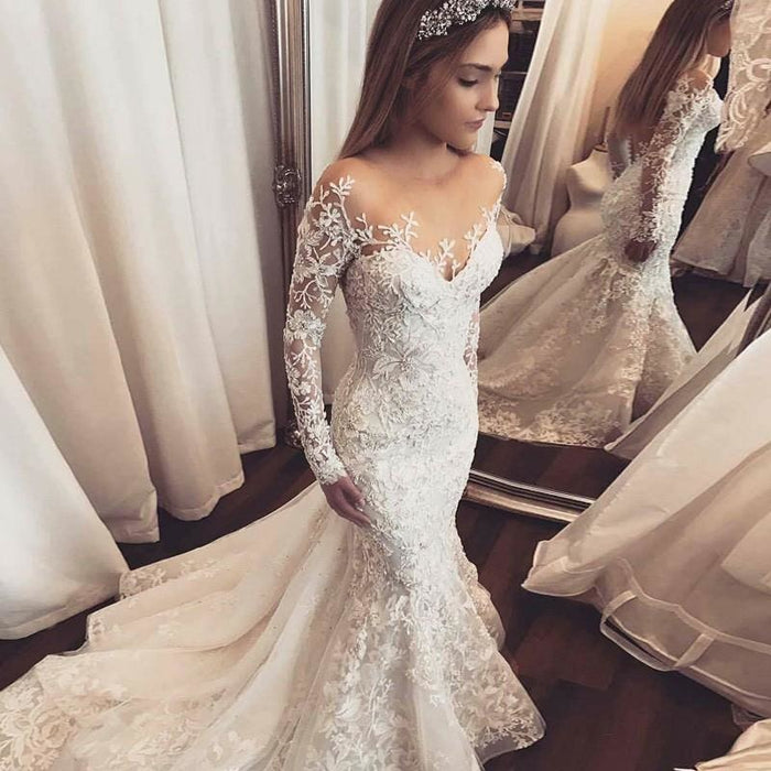 Gorgeous Mermaid Illusion Long Sleeves Tulle Appliques Beach Wedding Dress - Wedding Dresses