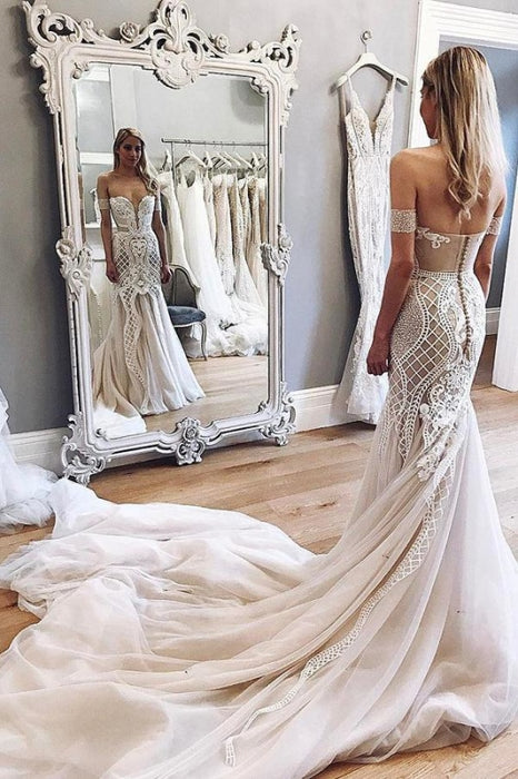 Gorgeous Mermaid Off-the-Shoulder Chapel Train Ivory Tulle Wedding Dress - Wedding Dresses