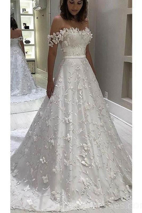 Gorgeous Off the Shoulder Lace White Long Wedding Dress - Wedding Dresses