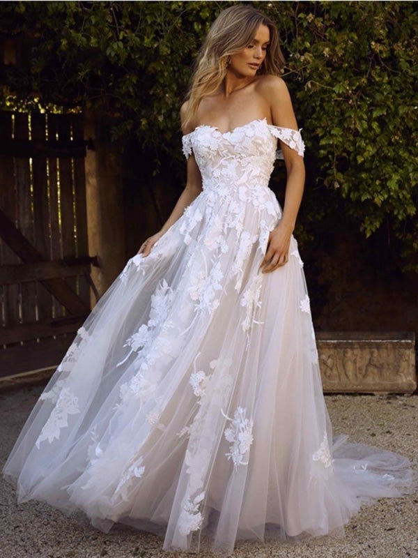 Gorgeous Open Back Appliques Tulle A-line Wedding Dresses - As Picture / Floor Length - wedding dresses