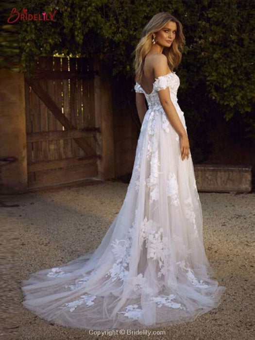 Gorgeous Open Back Appliques Tulle A-line Wedding Dresses - wedding dresses