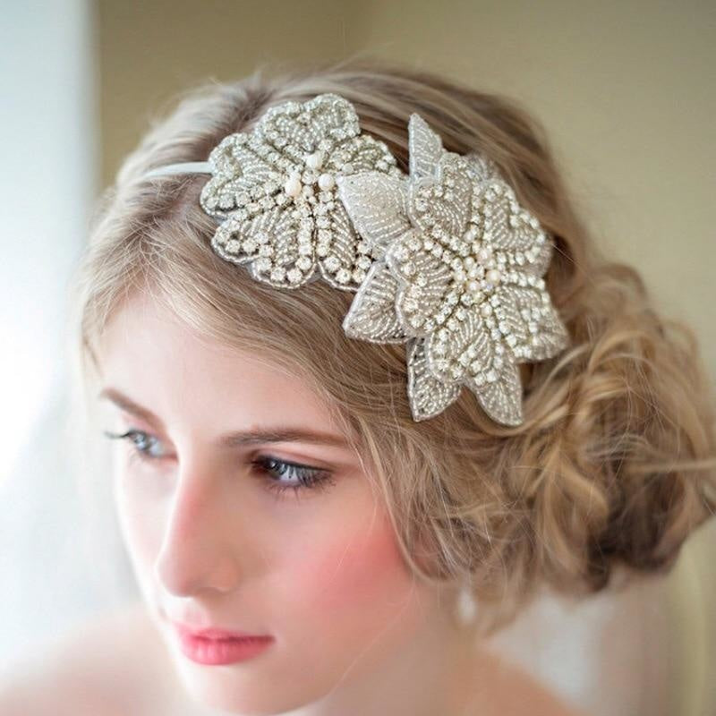 Gorgeous Rhinestone Pearl Floral Headpieces | Bridelily - Same as picture colour - floral headpieces