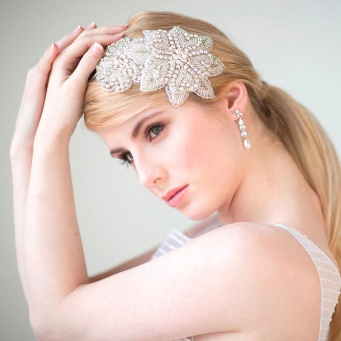 Gorgeous Rhinestone Pearl Floral Headpieces | Bridelily - floral headpieces