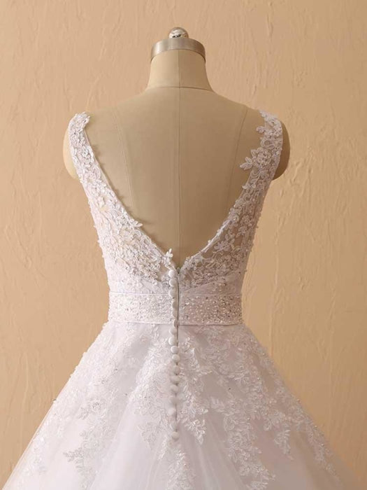 Gorgeous Spaghetti Strap V-Neck Backless Wedding Dresses - wedding dresses